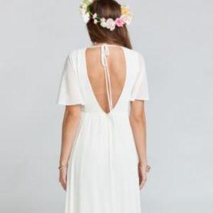 FAYE FLUTTER MAXI DRESS ~ WEDDING CAKE CHIFFON